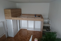 Izdelava pohištva spalnice v garsonjeri